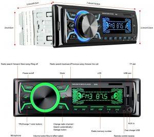 Autoradio Bluetooth Mains Libres 7 couleurs d'affichage